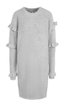 Платье-миди фактурной вязки с оборками MICHAEL Michael Kors