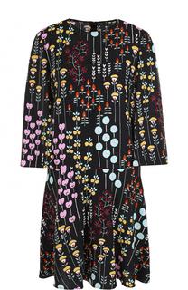 Мини-платье с укороченным рукавом и ярким принтом Valentino