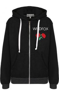 Хлопковый кардиган на молнии с капюшоном Wildfox