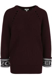 Пуловер из смеси хлопка и шерсти с укороченным рукавом Kenzo