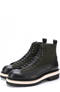 Высокие кожаные ботинки на шнуровке с текстильной отделкой Dsquared2