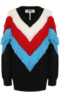 Пуловер с V-образным вырезом и яркой бахромой MSGM
