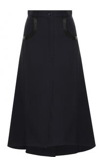 Однотонная шерстяная юбка-миди Nina Ricci