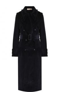 Вельветовое двубортное пальто с поясом Nina Ricci