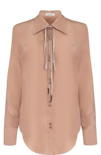 Шелковая блуза прямого кроя с воротником аскот Nina Ricci