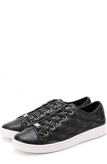Кожаные стеганые кеды Barbara на шнуровке DKNY