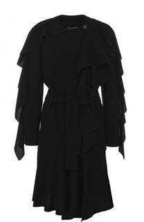 Шерстяное пальто с оборками и поясом Tom Ford