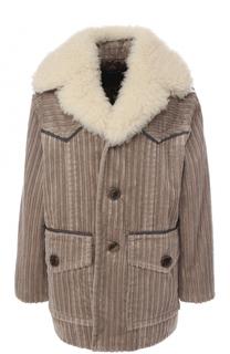 Вельветовая куртка свободного кроя с воротником из овчины Marc Jacobs