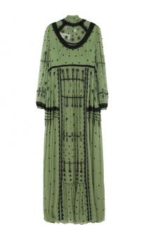 Шелковое платье-макси с вышивкой и воротником аскот Valentino