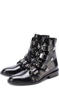 Кожаные ботинки с ремешками и заклепками Philipp Plein