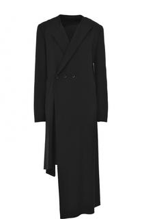 Шерстяное двубортное пальто асимметричного кроя Yohji Yamamoto