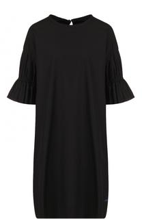 Хлопковое платье свободного коя с укороченным рукавом Yohji Yamamoto