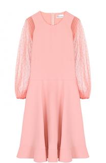 Приталенное мини-платье с прозрачными укороченным рукавами REDVALENTINO