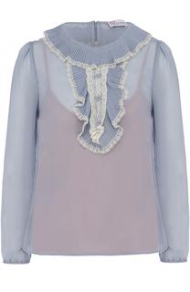Полупрозрачная блуза с плиссированными оборками REDVALENTINO