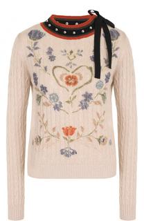 Пуловер фактурной вязки с принтом и декорированным вырезом REDVALENTINO