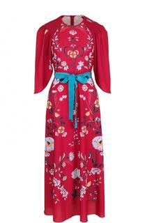 Платье-миди с ярким принтом и контрастным поясом REDVALENTINO