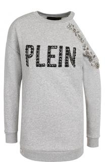 Хлопковый пуловер с открытым плечом и декоративной отделкой Philipp Plein