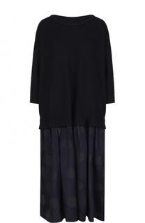 Платье-миди свободного кроя с укороченным рукавом Yohji Yamamoto