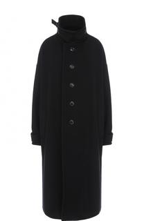 Шерстяное пальто свободного кроя с воротником-стойкой Yohji Yamamoto