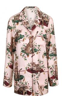 Шелковая блуза в пижамном стиле с принтом Dolce & Gabbana