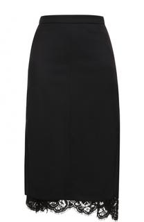 Шерстяная юбка-миди с кружевной вставкой Dorothee Schumacher
