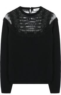 Пуловер из смеси шерсти и кашемира с кружевными вставками Valentino