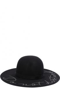 Шерстяная шляпа с отделкой стразами Eugenia Kim