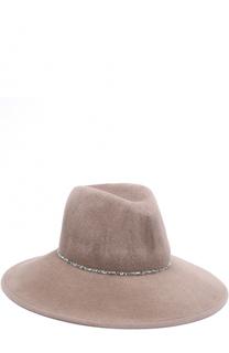 Фетровая шляпа с отделкой стразами Eugenia Kim