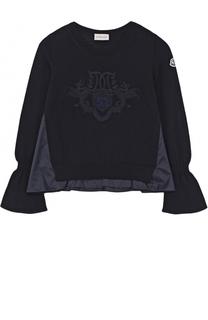 Шерстяной свитер с декоративной отделкой Moncler Enfant