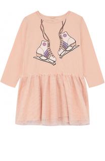 Хлопковое мини-платье с принтом и стразами Stella McCartney