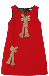 Шерстяное мини-платье с аппликациями и пайетками Dolce & Gabbana