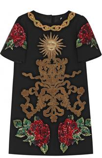 Мини-платье с аппликациями и пайетками Dolce & Gabbana