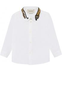 Хлопковая рубашка с декоративным воротником Gucci