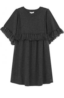 Мини-платье свободного кроя из хлопка и шерсти с кистями Chloé