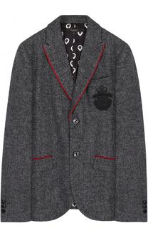 Однобортный пиджак с контрастной окантовкой и вышивкой Billionaire