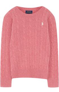 Пуловер из шерсти и кашемира фактурной вязки с логотипом бренда Polo Ralph Lauren