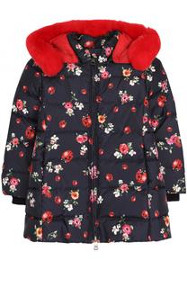 Пуховая куртка с принтом и меховой отделкой на капюшоне Dolce & Gabbana
