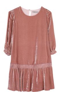 Мини-платье из вискозы и шелка с кружевной отделкой Ermanno Scervino