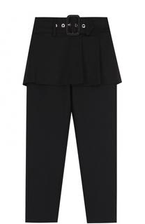 Шерстяные брюки с баской и широким поясом Givenchy