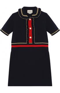 Шерстяное мини-платье с оборками и металлизированной отделкой Gucci