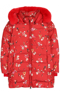 Пуховая куртка с принтом и меховой отделкой Dolce & Gabbana