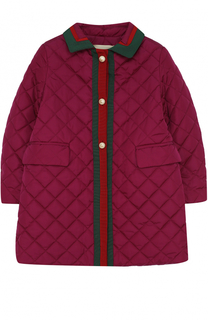 Стеганое пальто с контрастной отделкой и декоративными пуговицами Gucci