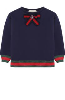 Хлопковый свитшот с контрастной отделкой и бантом Gucci