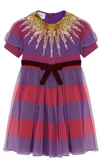Шелковое платье с бархатным поясом и пайетками Gucci