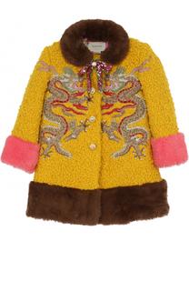 Шерстяное пальто с вышивкой и декоративным бантом Gucci