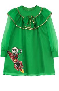 Шелковое мини-платье с бантом и пайетками Gucci
