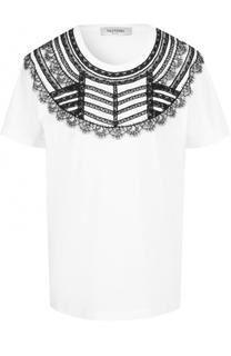 Хлопковая футболка с контрастной кружевной отделкой Valentino