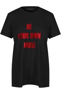 Однотонная футболка с контрастной надписью By Malene Birger