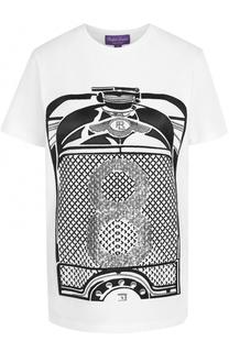 Хлопковая футболка с контрастной вышивкой и пайетками Ralph Lauren