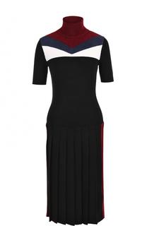 Платье с юбкой в складку и высоким воротником Stella Jean
